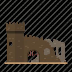 architecture, broken, building, castle, fortress, medieval, ruin icon