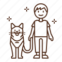 cat, care, walk, walking, harness, men