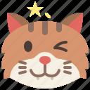 animal, cat, emoji, emotion, feeling, pet, winking