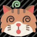 animal, cat, dizzy, emoji, emotion, feeling, pet