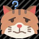 animal, cat, confused, emoji, emotion, feeling, pet