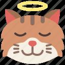 angel, animal, cat, emoji, emotion, feeling, pet