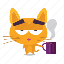 cat, coffee, emoji icon