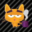 cat, coffee, emoji icon