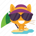 cat, emoji, vacation icon