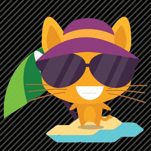 cat, emoji, vacation icon