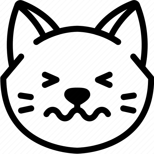 cat, confounded, emoji, emotion, expression, face, feeling icon