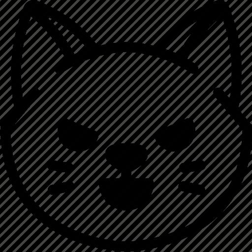 cat, emoji, emotion, evil, expression, face, feeling icon