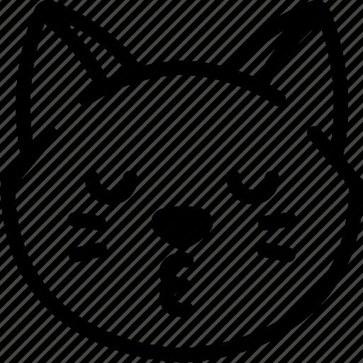 cat, emoji, emotion, expression, face, feeling, kiss icon