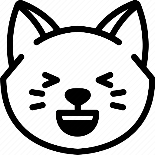 cat, emoji, emotion, expression, face, feeling, laughing icon