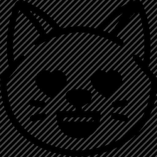 cat, emoji, emotion, expression, face, feeling, love icon