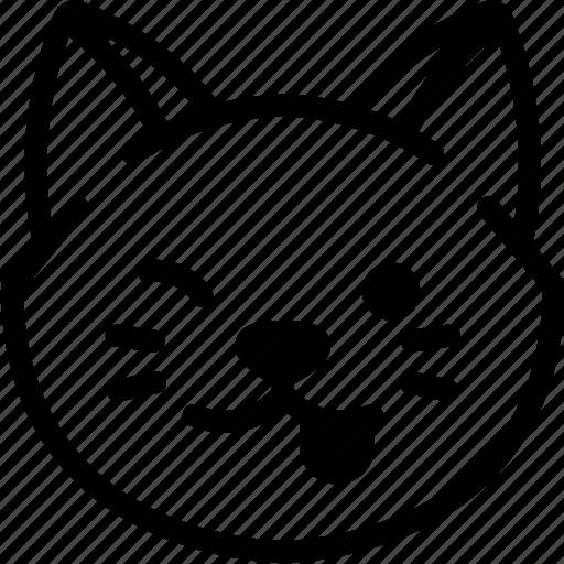 cat, emoji, emotion, expression, face, feeling, naughty icon