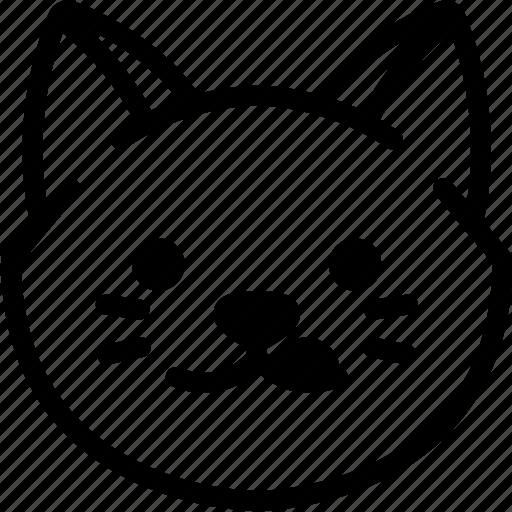 Emotion, naughty, face, cat, feeling, expression, emoji icon