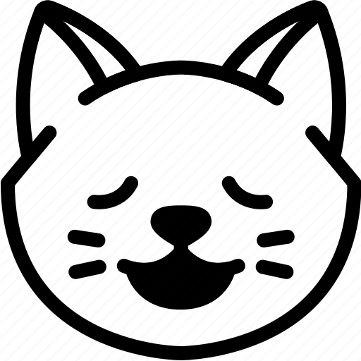 cat, emoji, emotion, expression, face, feeling, relax icon