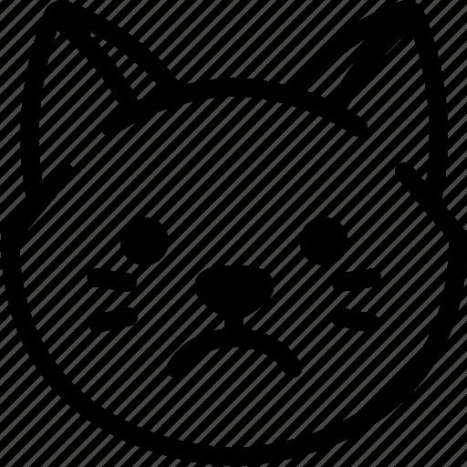 Emotion, sad, face, cat, feeling, expression, emoji icon