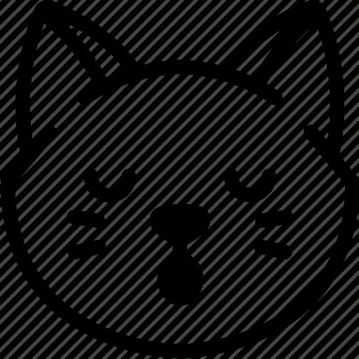 cat, emoji, emotion, expression, face, feeling, sleeping icon