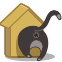 birdhouse, cat icon