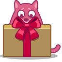 cat, gift icon