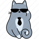 sunglasses, pet, feline, cat, animal, tie, formal