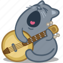 banjo, cat, guitar, romance, song icon