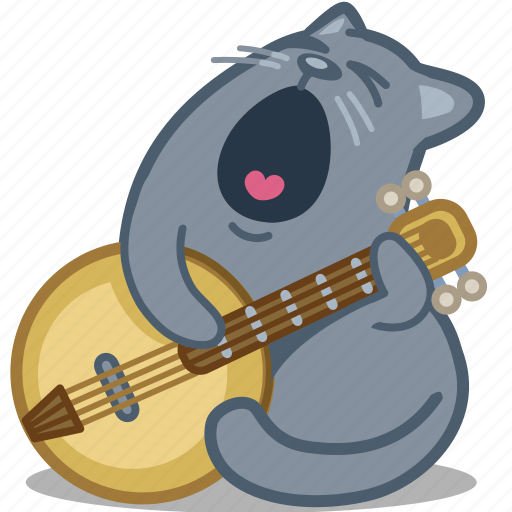 banjo, cat, guitar, romance, serenade, sing icon