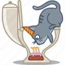 animal, animals, bd, birthday, blow, cake, candle, cap, cat, celebrate, dessert, kitty, lavatory, loo, party, pet, sweet, toilet, wc icon