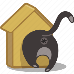 birdhouse, bottom, butt, cat, pet, squeeze icon