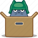 box, cat, helmet, pet, soldier icon