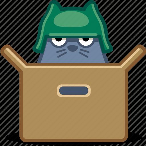 box, cat, helmet, pet, soldier icon