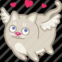 heart, love, angel, cupid, cat, valentine, romantic icon