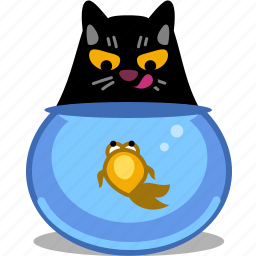 animal, cat, dinner, fish, fishing, fishtank, food, hungry, kitty, pet, tank, tongue, water icon