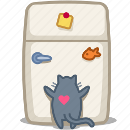 cat, feed, food, fridge, kitchen, magnet, pet icon
