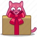 bow, box, cat, delivery, gift, package icon
