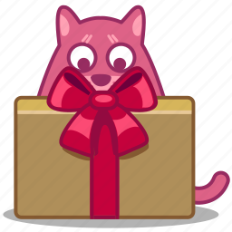 bow, box, cat, delivery, gift, package, present icon