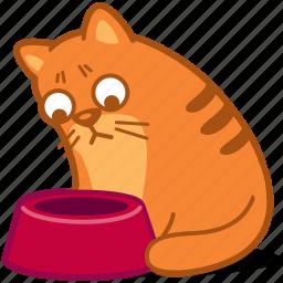 animal, bowl, cat, empty, hungry, pet, sad icon