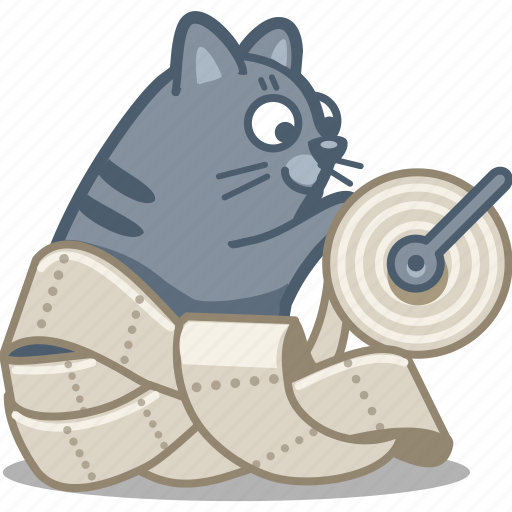 cat, paper, pet, play, roll, sheet, toilet icon
