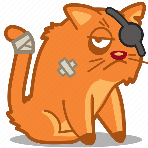 cat, disabled, ginger, ill, pet, pirate, sick icon