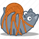 ball, cat, pet, play, tangled, thread, yarn icon