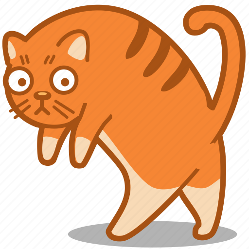 cat, feline, ginger, pet, walk icon