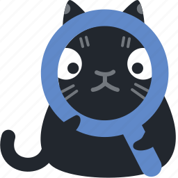 cat, find, magnify, research, search, view, zoom icon