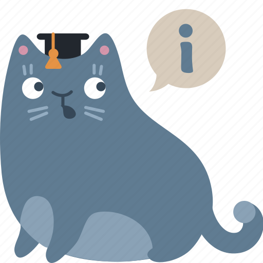 about, cat, clever, expert, faq, help, info icon