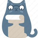 cat, clever, document, file, page, read, review icon