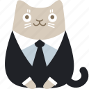 cat, customer, feline, suit icon