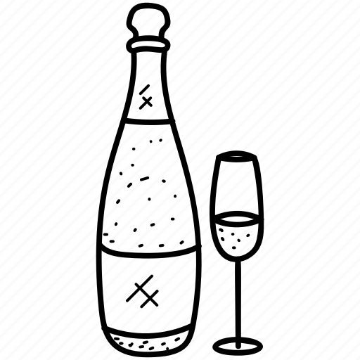 alcohol, beverage, champagne bottle, drink, wine and glass icon