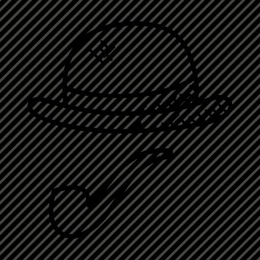cap, cap with pipe, gentleman symbol, man of honor, smoking pipe icon