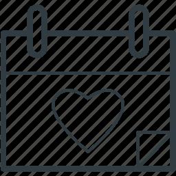 calendar, heart calendar, valentine day, wedding day, yearbook icon
