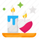 candle, heart, love, valentines day icon