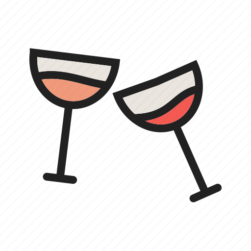 Bar, cocktail, glasses, glass, party, champagne, wine icon
