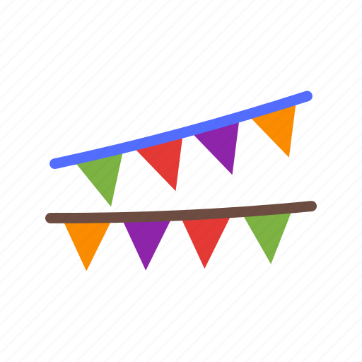 birthday, celebration, color, flags, green, party, yellow icon