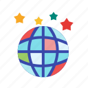 celebration, globe, mirror, music, party, reflection, shiny icon